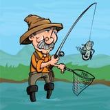Tecknad filmfiskare som fångar en fisk Royaltyfri Bild