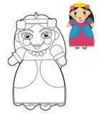 Tecknad filmflicka - docka - färgläggningsida med förtitten för barn stock illustrationer