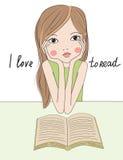 Tecknad filmflicka med boken stock illustrationer