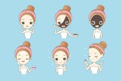 Tecknad filmflicka med den ansikts- maskeringen stock illustrationer