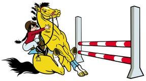 Tecknad filmflicka med hästen Fotografering för Bildbyråer