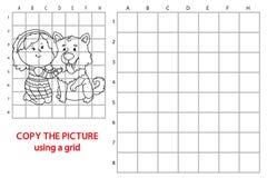 Tecknad filmflicka och hund stock illustrationer