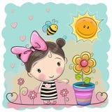 Tecknad filmflicka på ängen med blommor royaltyfri illustrationer