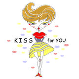 Tecknad filmflicka som överför kyssen Arkivfoton