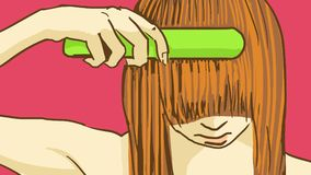 Tecknad filmflicka som borstar hennes våta hår med en grön hårborste Arkivfoto