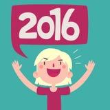 Tecknad filmflicka som firar det nya året 2016 Fotografering för Bildbyråer