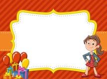 Tecknad filmflicka som har gyckel på födelsedagpartiet royaltyfri illustrationer
