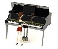 Tecknad filmflicka som leker på mer clavier Royaltyfri Fotografi