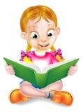 Tecknad filmflicka som läser den fantastiska boken Arkivbild