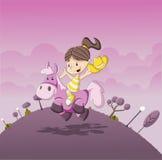 Tecknad filmflicka som rider en ponny Arkivbild