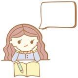 Tecknad filmflicka som tänker med vitt bubblautrymme för din text Arkivfoto
