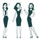 Tecknad filmflicka som upp ser, tänker eller gör beslut stock illustrationer