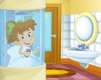 Tecknad filmflickan i badrummet - duscha kabinen Fotografering för Bildbyråer