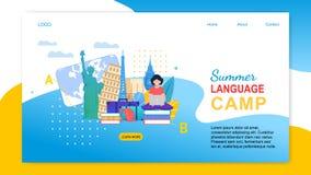 Tecknad filmflickan med anteckningsboken lär språk utomlands royaltyfri illustrationer