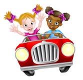 Tecknad filmflickatecken som kör bilen Fotografering för Bildbyråer