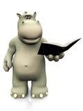 Tecknad filmflodhäst som läser en bok Arkivbilder