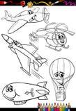 Tecknad filmflygplanuppsättning för färgläggningbok Fotografering för Bildbyråer