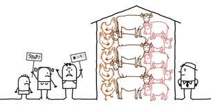 Tecknad filmfolk som säger INTE till intensiv produktion av kött Arkivbild