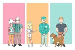 Tecknad filmfolktecken kommer med husdjur i den veterinär- kliniken för veterinärundersökning Vektorillustration i linjär stil Fotografering för Bildbyråer