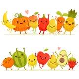 Tecknad filmfrukter och grönsaker i grupp Lyckliga maskot för vektor med att le framsidor stock illustrationer