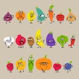 Tecknad filmfrukter och grönsaker med ansiktsbehandlingen stock illustrationer