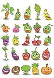Tecknad filmfrukter och grönsaker med olika sinnesrörelser stock illustrationer