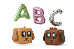 Tecknad filmfyrkanter hund och abc-ballong illustration 3d Arkivfoto