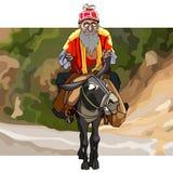 Tecknad filmgamala mannen med ett skägg rider en åsna royaltyfri bild