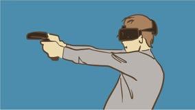 Tecknad filmGamer En virtuell verklighet Man med virtuell verklighethörlurar med mikrofonexponeringsglas Arkivfoton