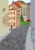 Tecknad filmgata av den gamla staden Royaltyfri Bild