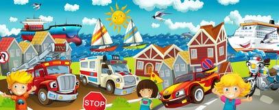 Tecknad filmgata - illustration för barnen Arkivfoto