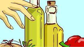 Tecknad filmglasflaskor med matolja och grönsaker Royaltyfri Bild