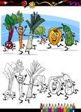 Tecknad filmgrönsaker för färgläggningbok Royaltyfria Bilder