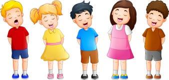 Tecknad filmgrupp av barn som tillsammans sjunger stock illustrationer