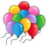 tecknad filmgrupp för 2 ballonger Fotografering för Bildbyråer