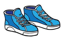 Tecknad filmgymnastikskor - blått och vit stock illustrationer