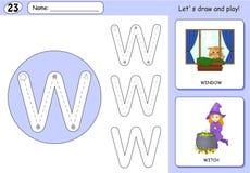 Tecknad filmhäxa och fönster Spårande arbetssedel för alfabet royaltyfri illustrationer