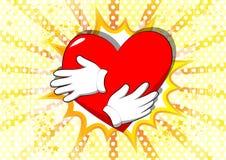Tecknad filmhand som kramar röd hjärta vektor illustrationer
