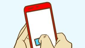 Tecknad filmhand som rymmer en röd smartphone Ett finger petar på skärmen Royaltyfria Bilder