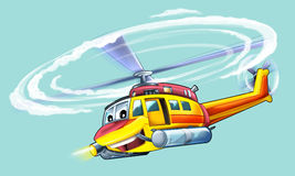 Tecknad filmhelikopter Arkivfoton