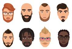 Tecknad filmhipsters uppsökte mangrabbavatars med moderna isolerade frisyrer, mustascher och skägg royaltyfri illustrationer