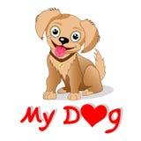 Tecknad filmhund` älskar jag min illustration för hund`-vektorn vektor illustrationer