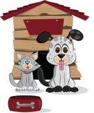 Tecknad filmhund och katt Royaltyfri Fotografi