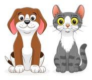 Tecknad filmhund och katt vektor illustrationer