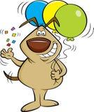Tecknad filmhund som kastar konfettier och rymmer ballonger royaltyfri bild