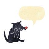 tecknad filmhund som skrapar med anförandebubblan Royaltyfri Bild
