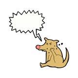 tecknad filmhund som skrapar med anförandebubblan Arkivbild