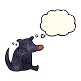 tecknad filmhund som skrapar med tankebubblan Royaltyfri Fotografi