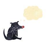 tecknad filmhund som skrapar med tankebubblan Arkivbild
