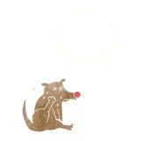 tecknad filmhund som skrapar med tankebubblan Royaltyfri Bild